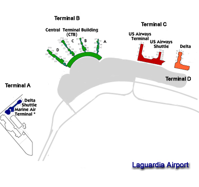 Laguardia Airport Terminal Map 4 Terminals A To D