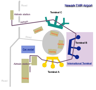 Newark EWR airport terminal map - Newark Liberty map